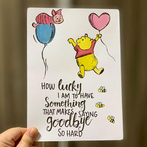 cute pooh farewell handmade card at best price in india