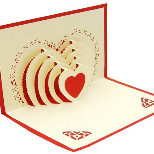 Five Layered Heart Popup Card