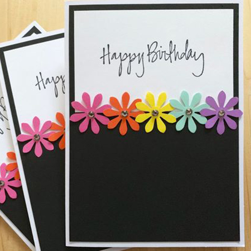 Multi Color Flower Handmade Card
