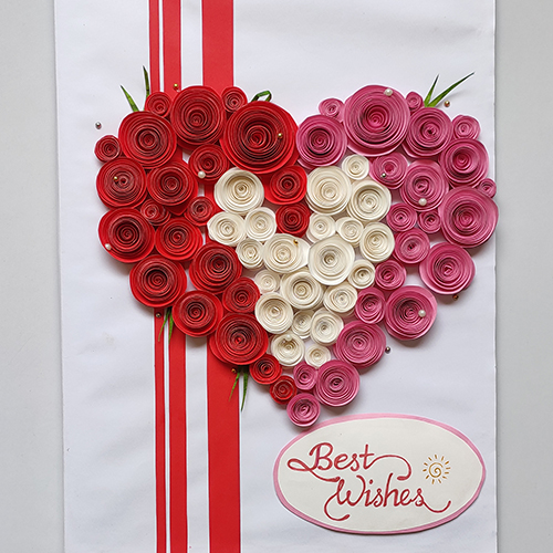 Rose Quilling Handmade Birthday Card